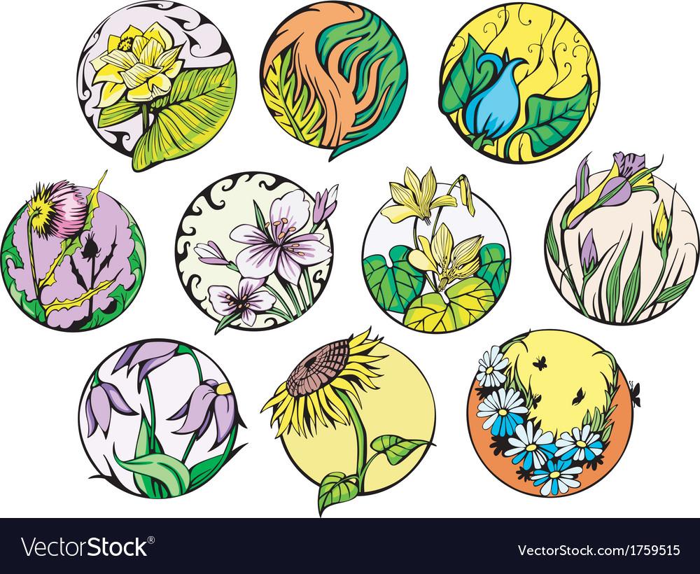 Round flower designs vector | Price: 1 Credit (USD $1)