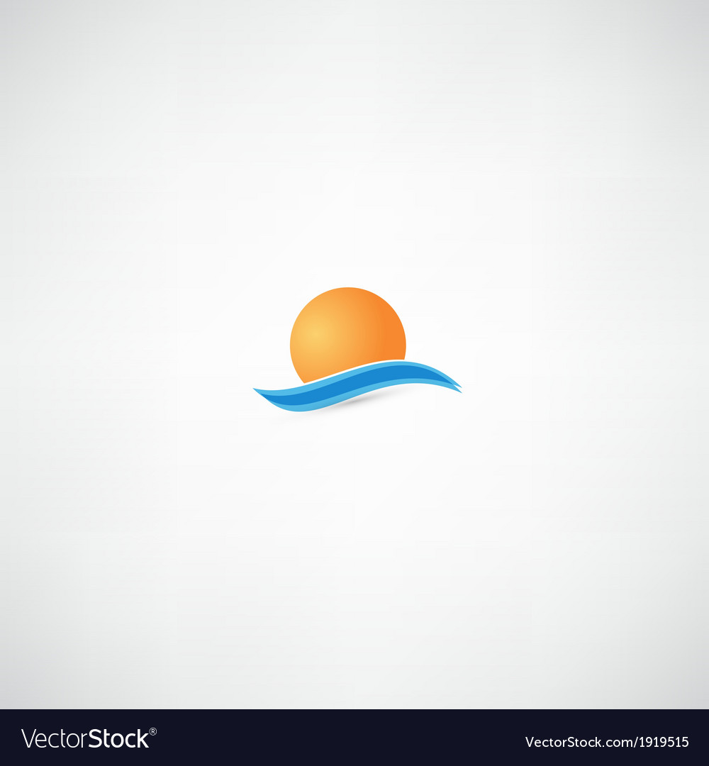 Sea waves and rising sun vector | Price: 1 Credit (USD $1)