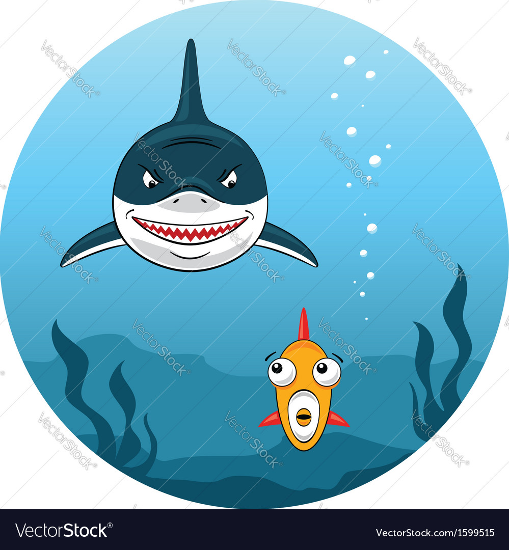 Shark hunting for small fish vector | Price: 1 Credit (USD $1)