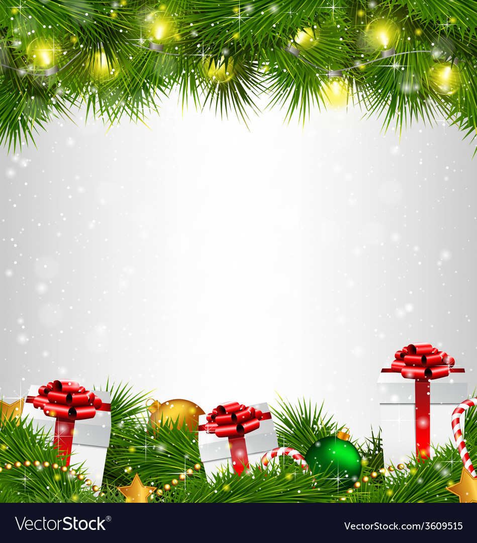 Shiny christmas tree with gift boxes and led vector | Price: 1 Credit (USD $1)