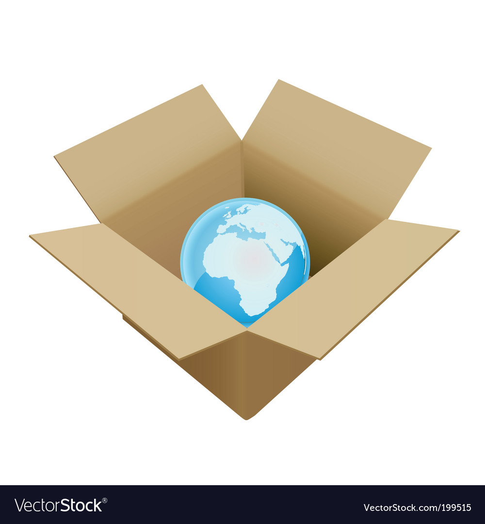 Shipping box in world vector | Price: 1 Credit (USD $1)