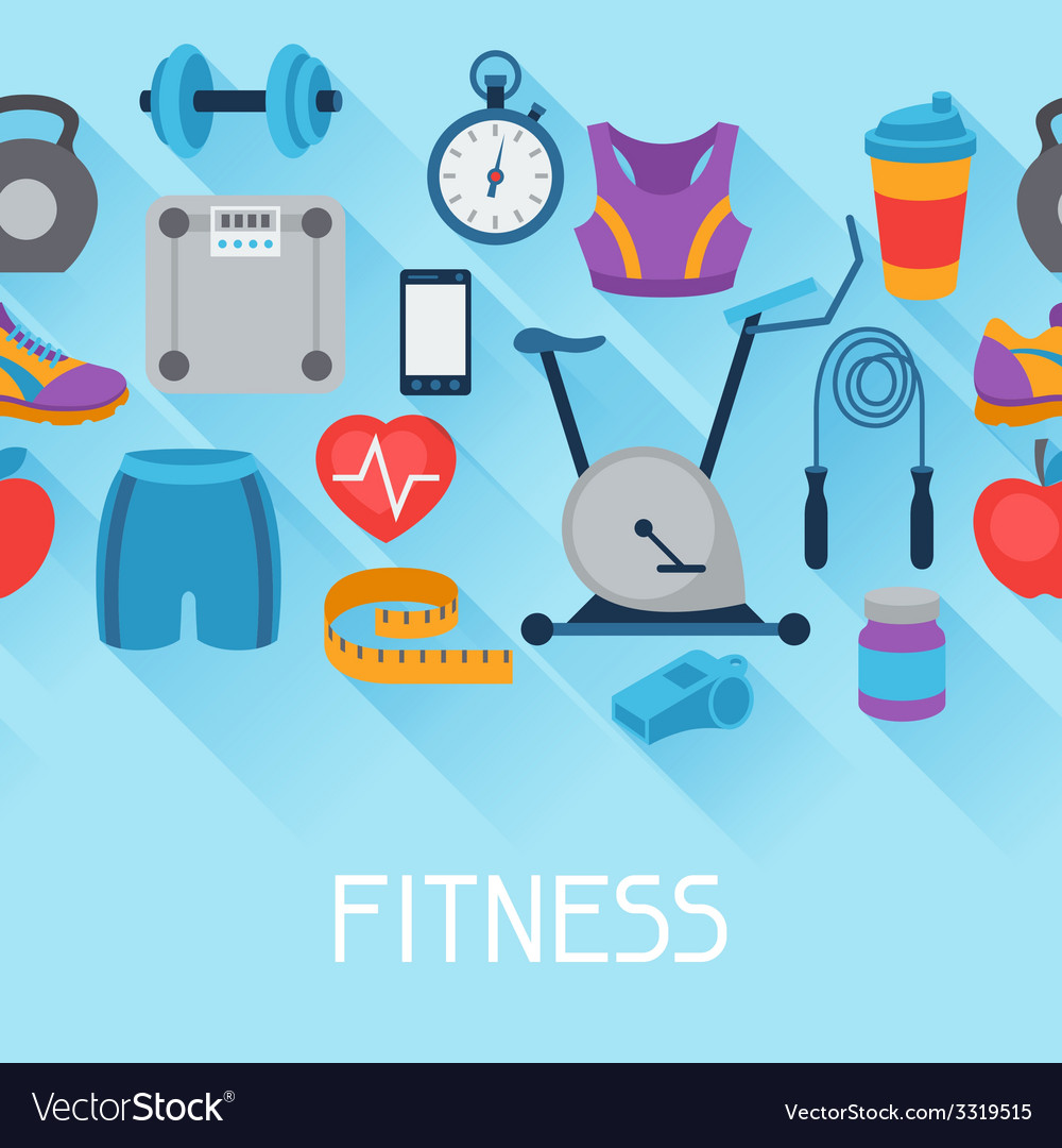 Sports seamless pattern with fitness icons in flat vector | Price: 1 Credit (USD $1)