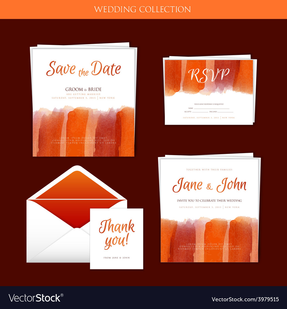 Wedding collection with watercolor vector