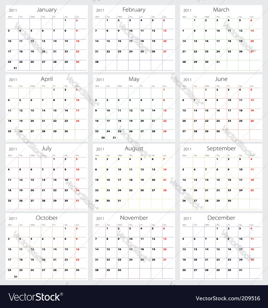 2011 calendar vector | Price: 1 Credit (USD $1)