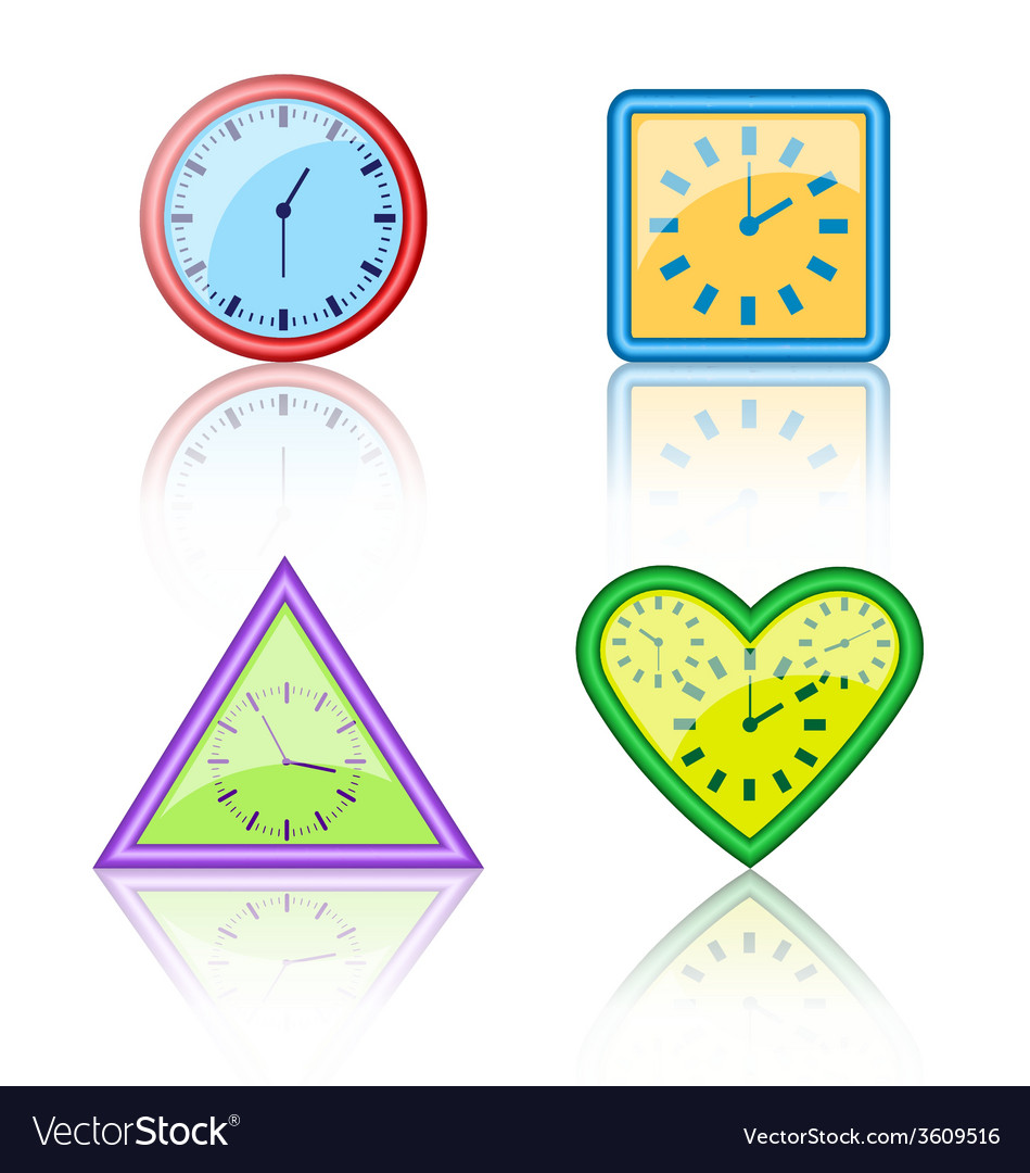 Bright multicolored different forms of clocks with vector | Price: 1 Credit (USD $1)