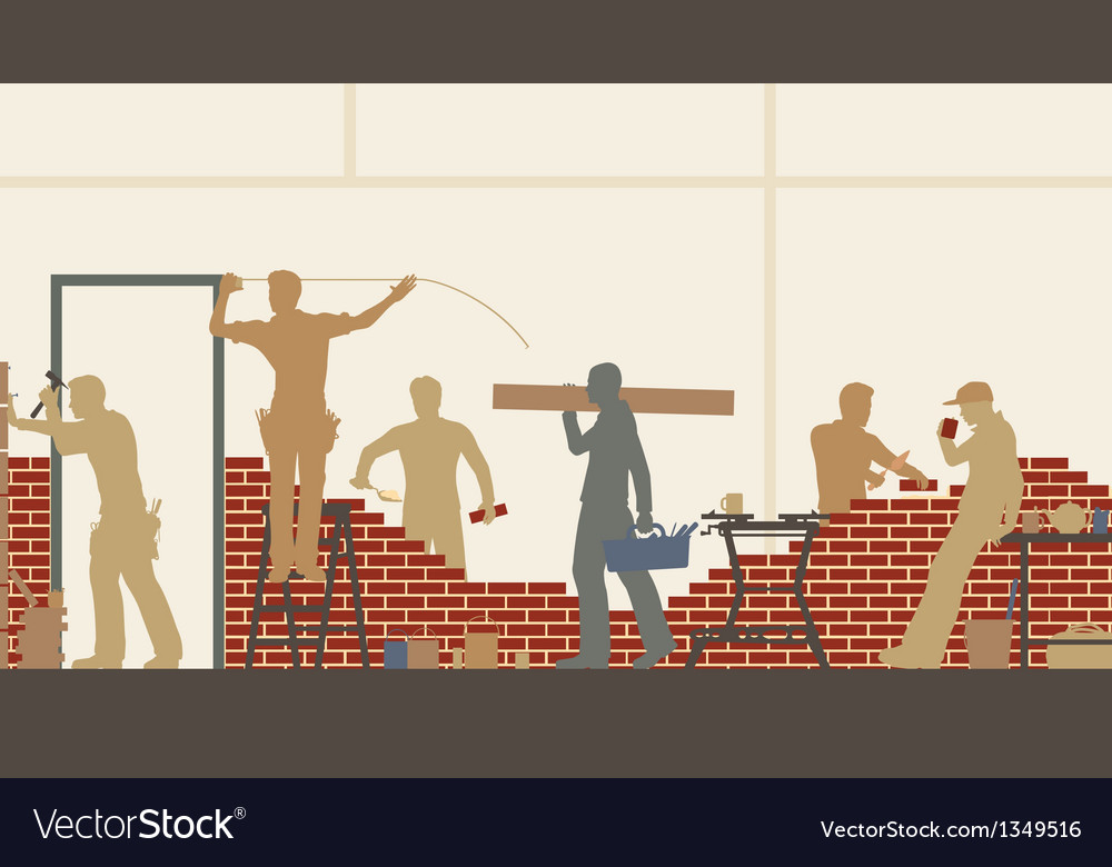 Builders at work vector | Price: 1 Credit (USD $1)