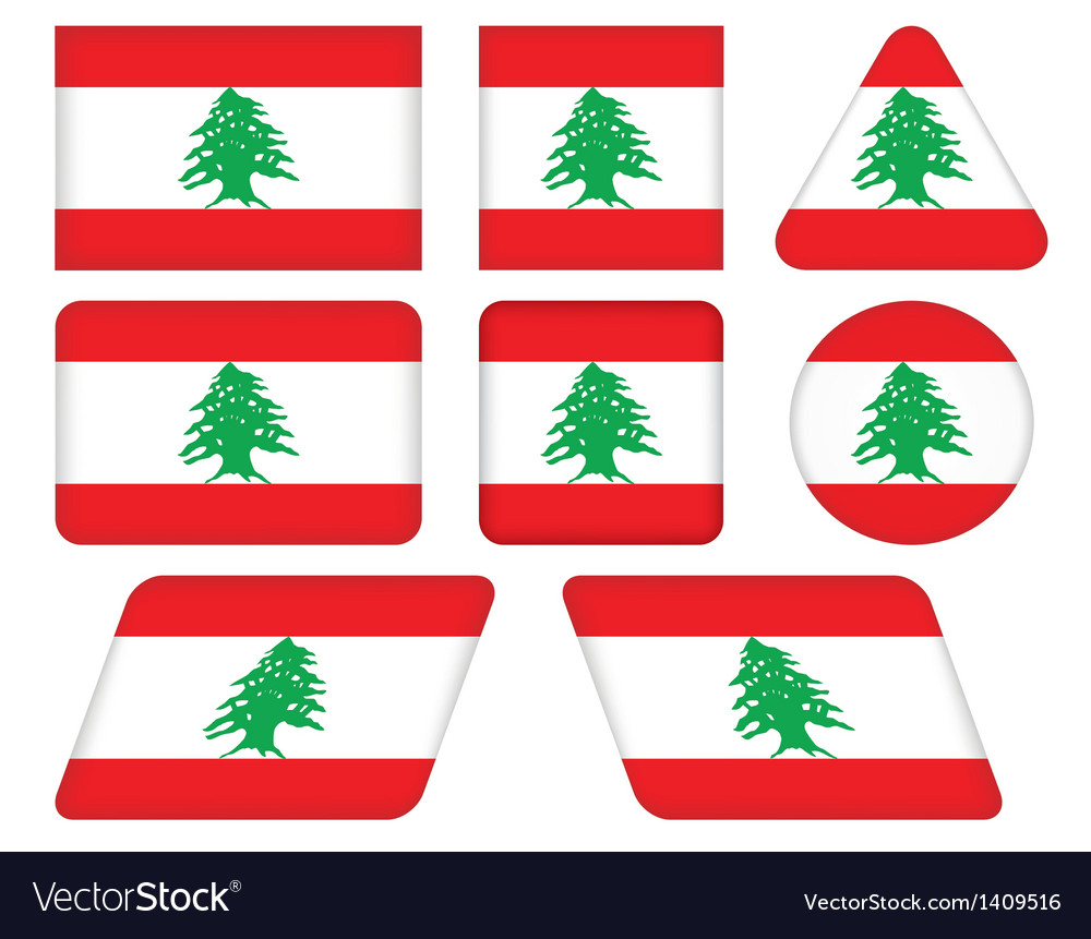 Buttons with flag of lebanon vector | Price: 1 Credit (USD $1)
