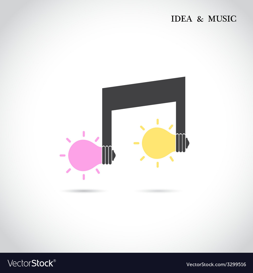 Creative music note and light bulb vector   Price: 1 Credit (USD $1)
