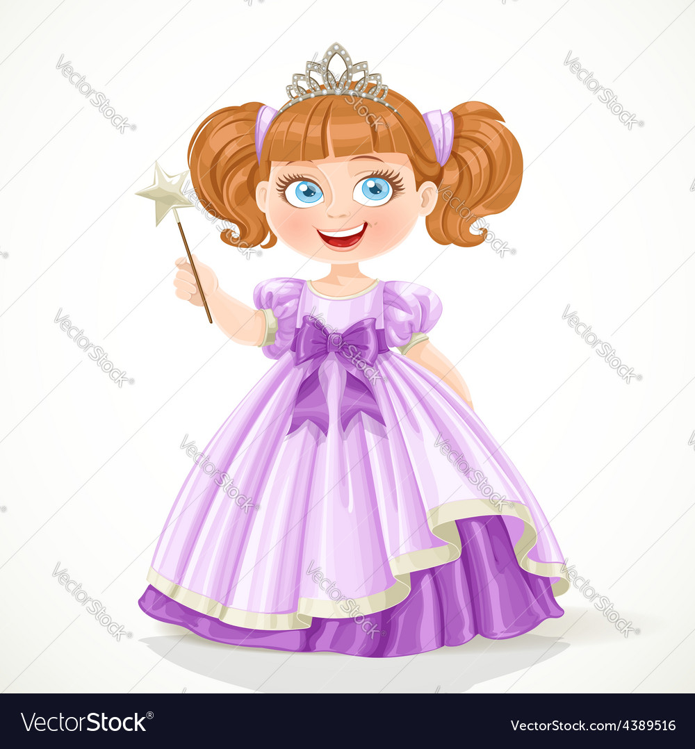 Cute little princess in purple dress and tiara vector | Price: 3 Credit (USD $3)