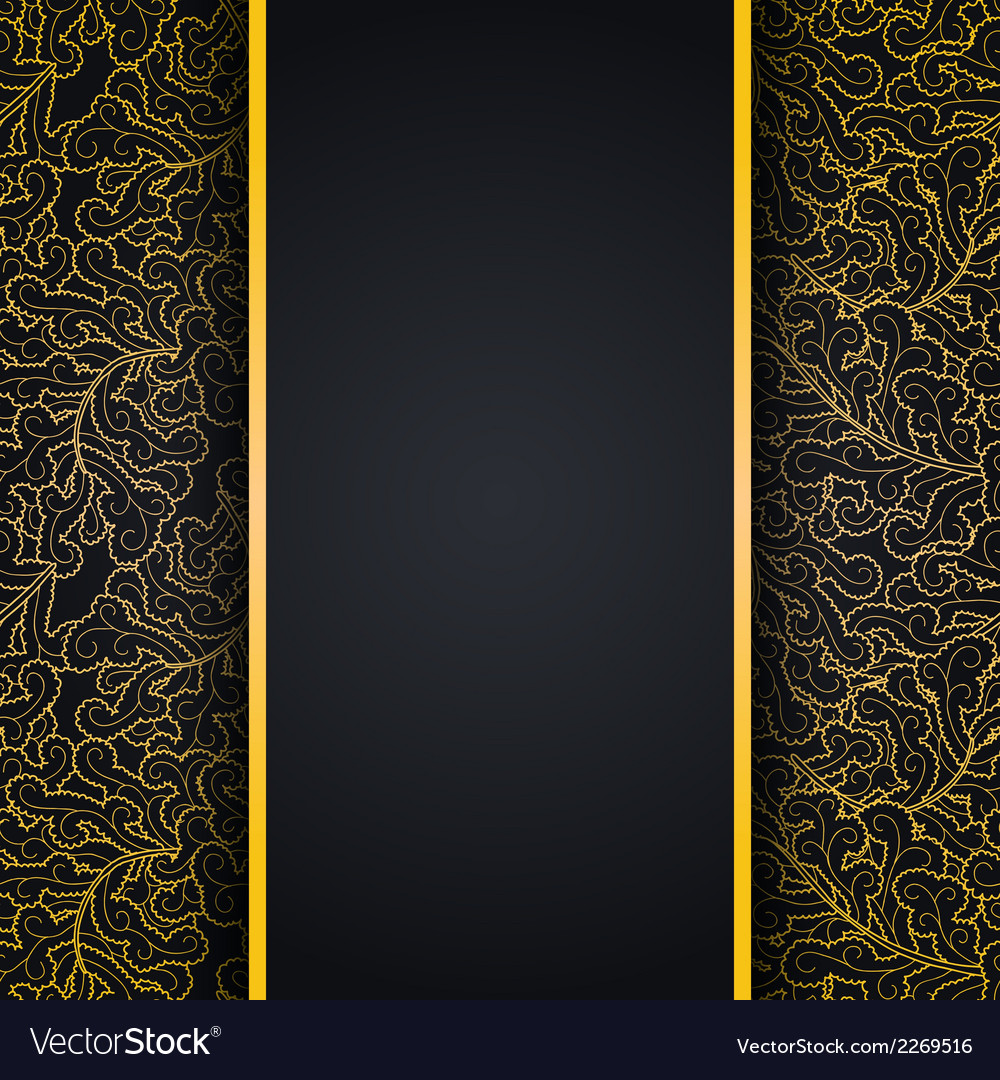 Elegant black background with gold lace ornament vector | Price: 1 Credit (USD $1)