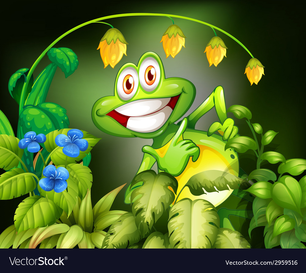 Frog and flower vector | Price: 1 Credit (USD $1)