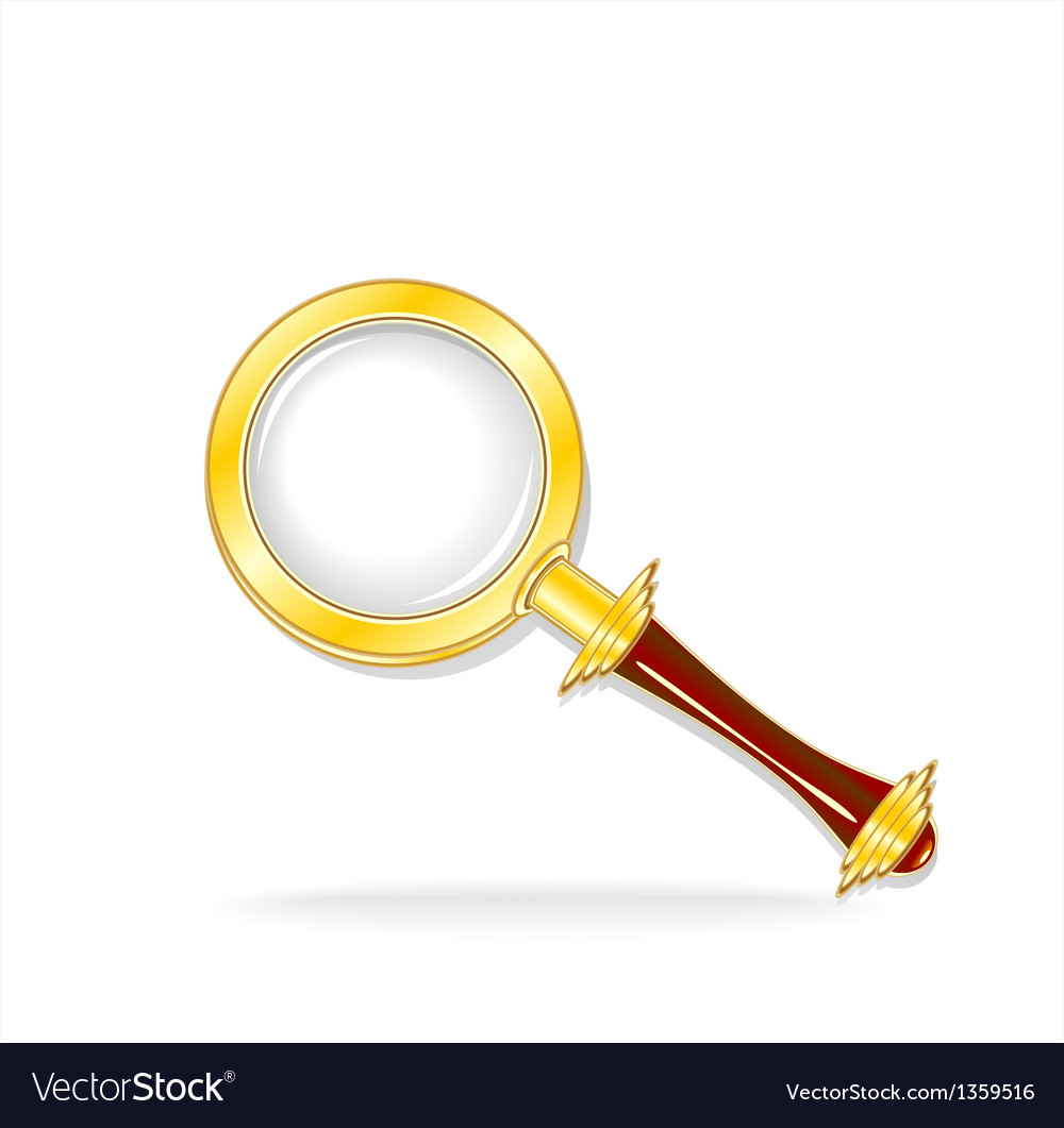 Gold magnifier isolated vector | Price: 3 Credit (USD $3)