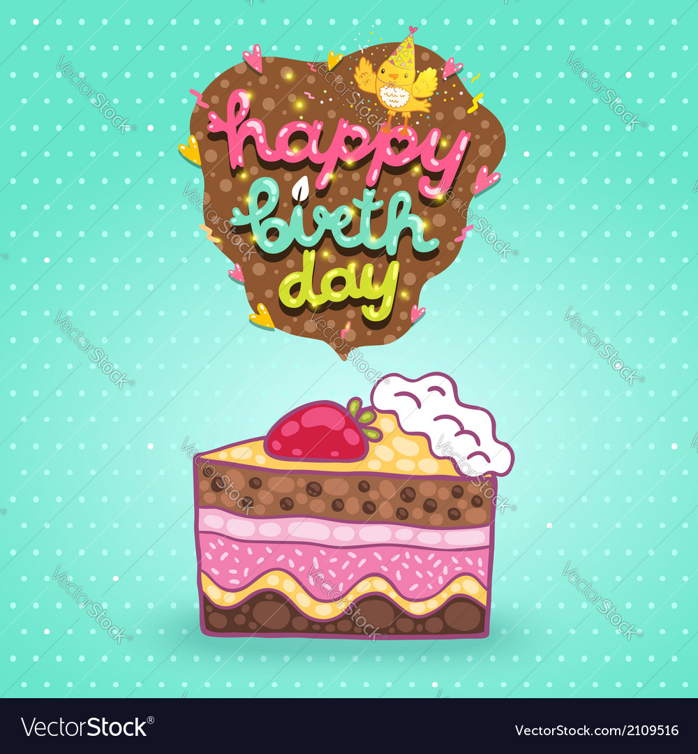 Happy birthday card background with cake vector | Price: 1 Credit (USD $1)