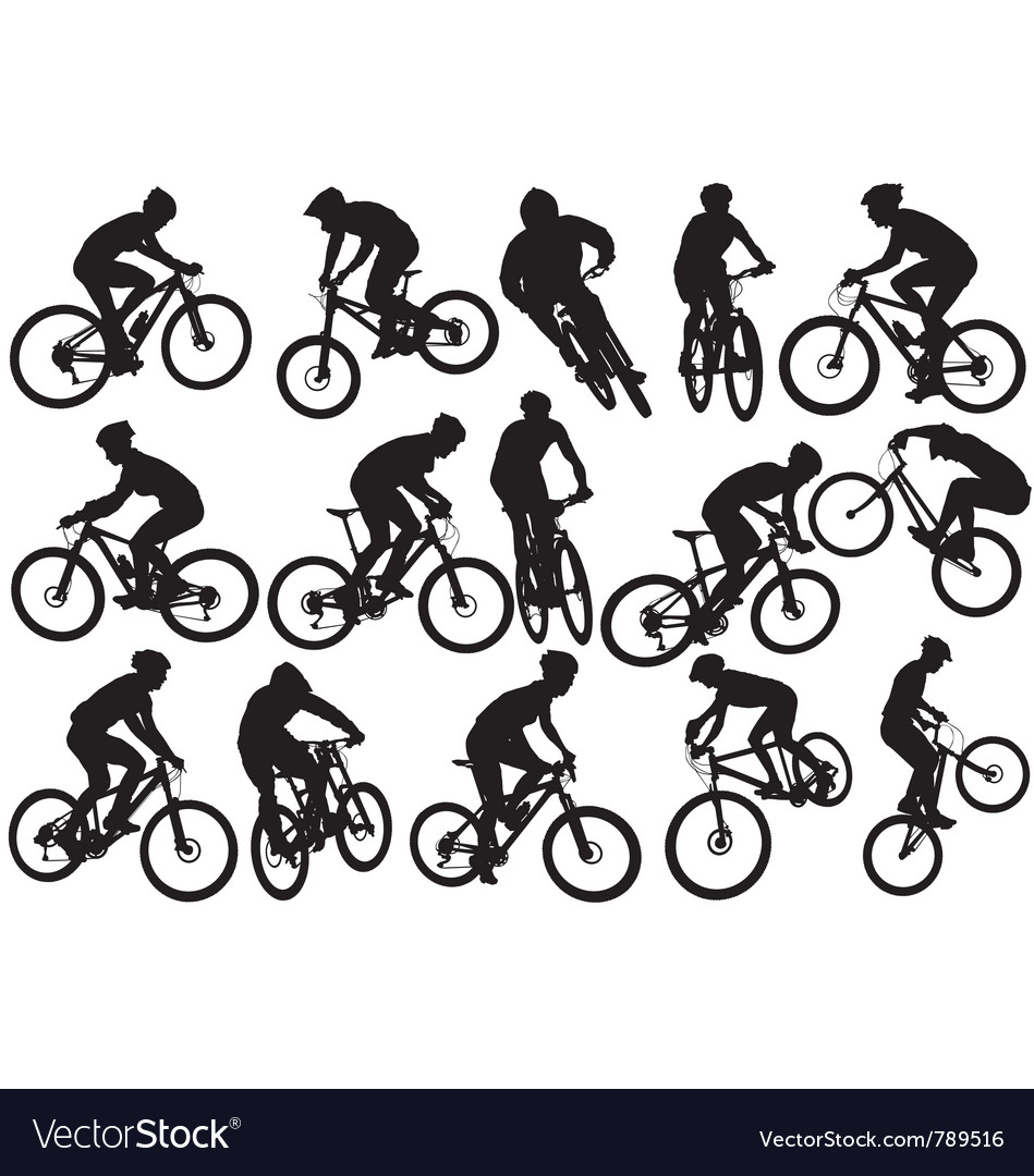 Mountain biker silhouettes vector | Price: 1 Credit (USD $1)