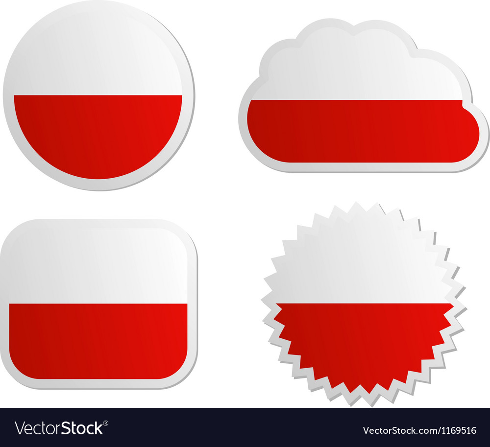Poland flag labels vector | Price: 1 Credit (USD $1)