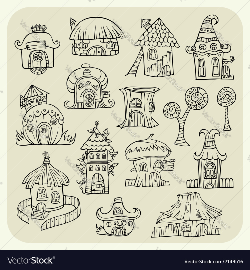 Set of sketch cartoon houses vector | Price: 1 Credit (USD $1)