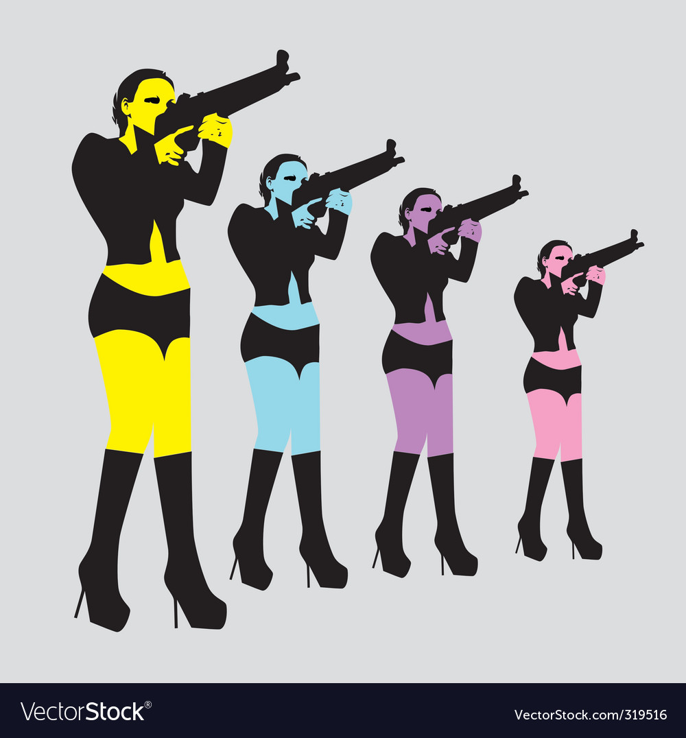 Sexy woman with gun vector | Price: 1 Credit (USD $1)