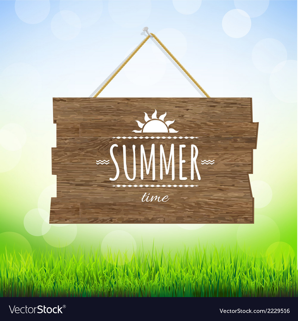 Summer time wood board vector | Price: 1 Credit (USD $1)
