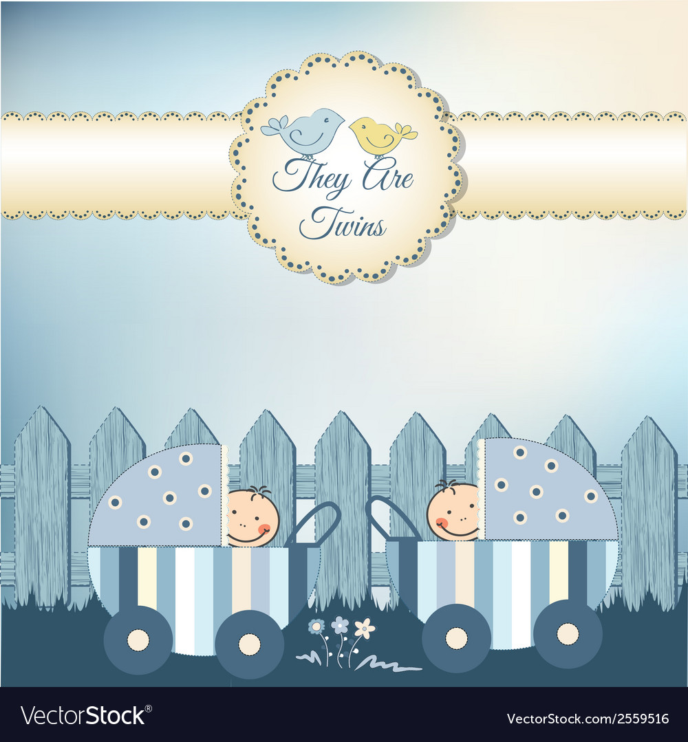 Twins baby shower invitation vector | Price: 1 Credit (USD $1)