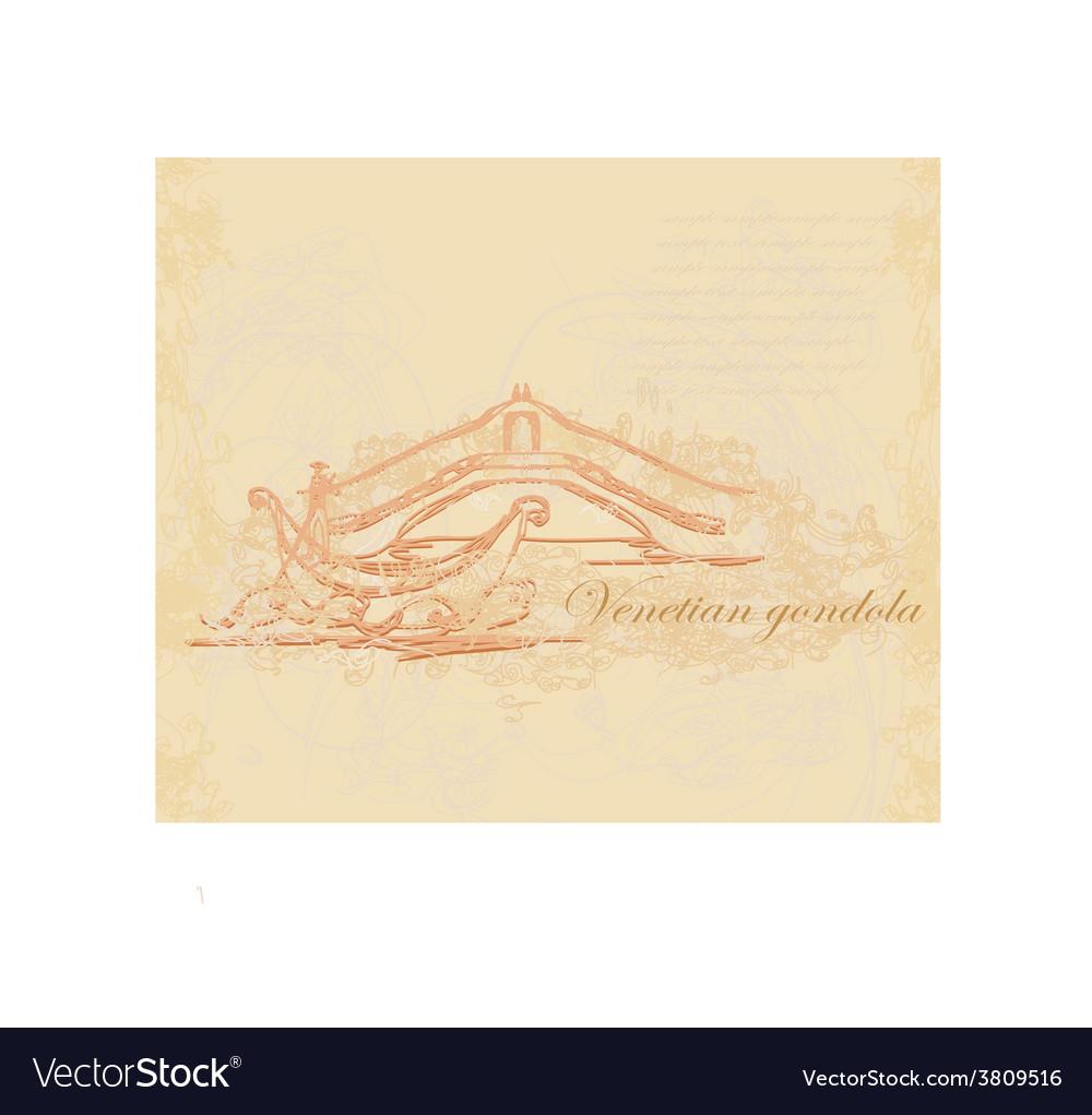 Venetian gondola retro style card vector   Price: 1 Credit (USD $1)