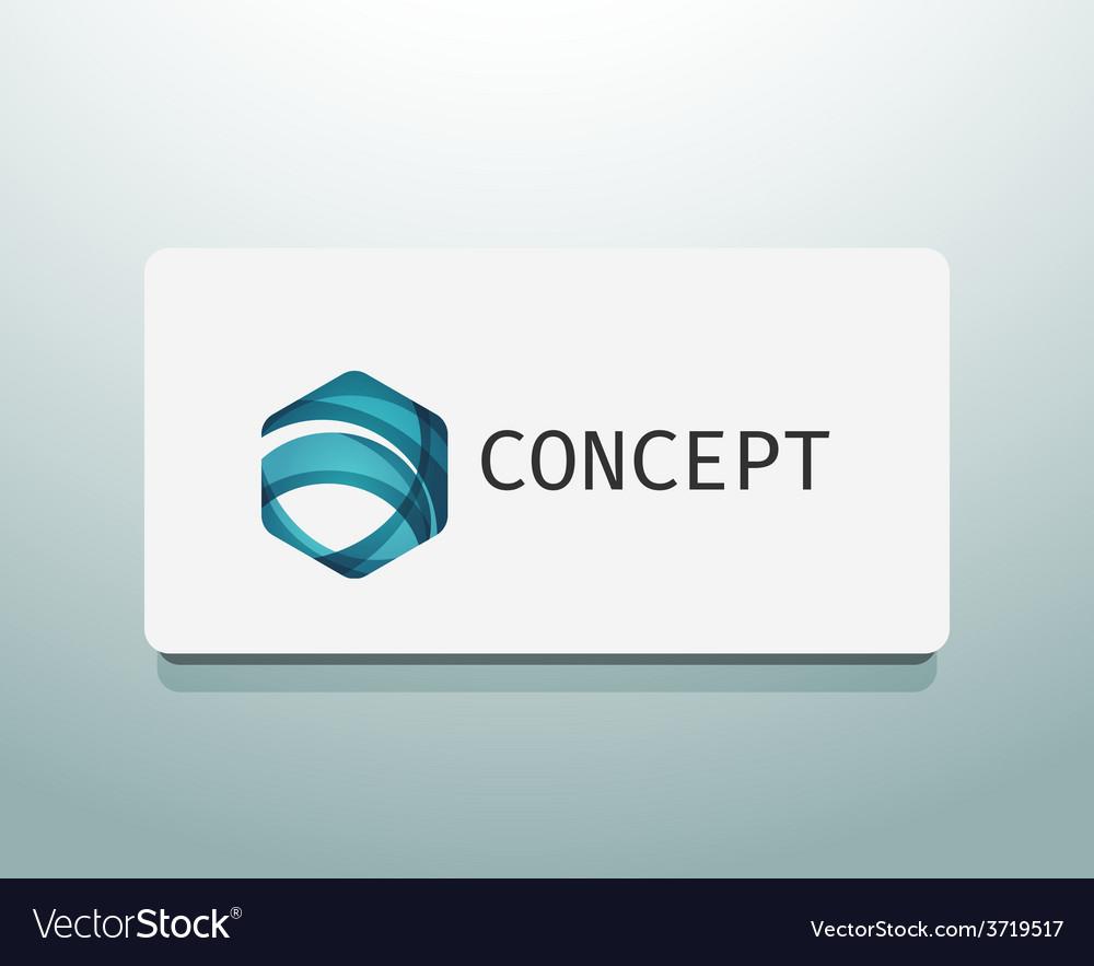 Abstract logo design wave shape hexagon vector | Price: 1 Credit (USD $1)
