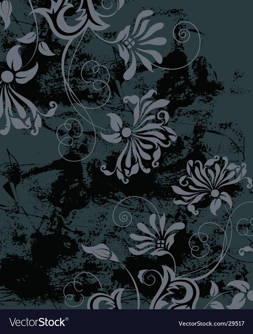 Black grunge background with flowers vector | Price: 1 Credit (USD $1)
