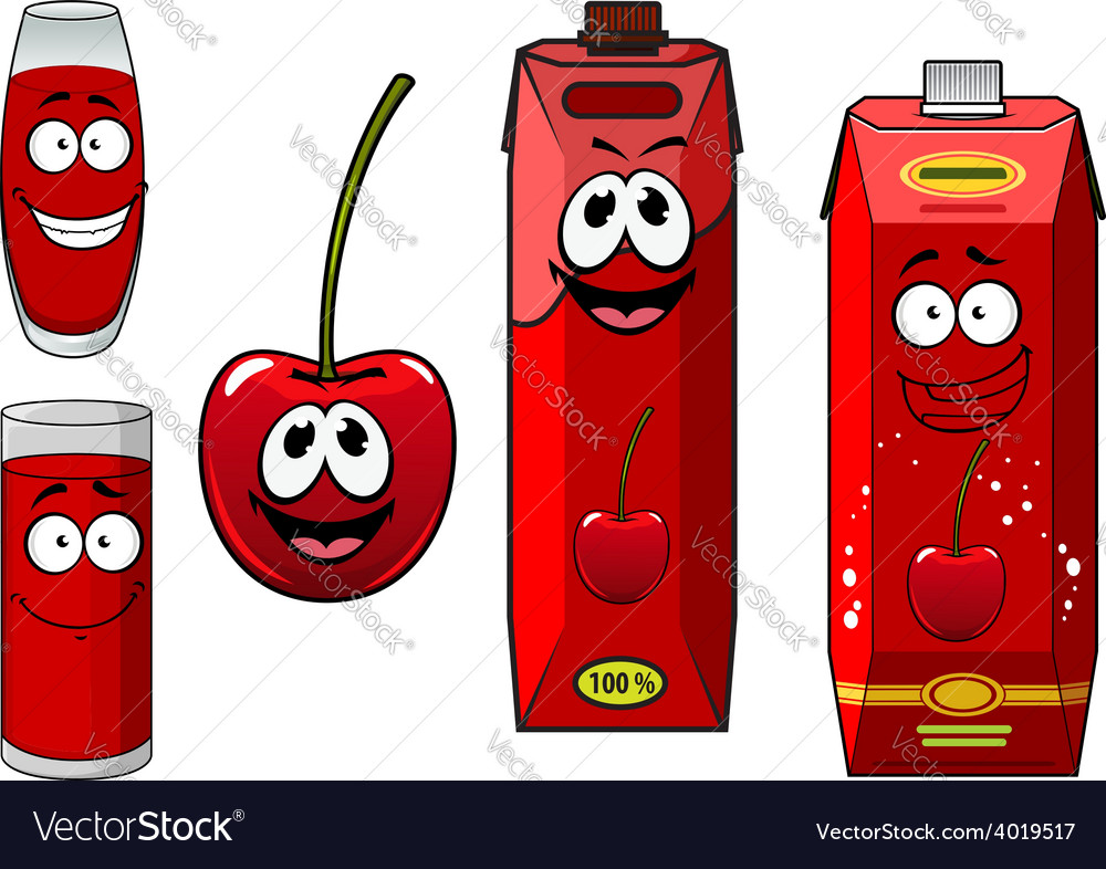 Cartoon cherry fruit with juice characters vector | Price: 1 Credit (USD $1)