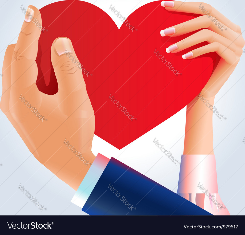 Couple holding heart vector | Price:  Credit (USD $)