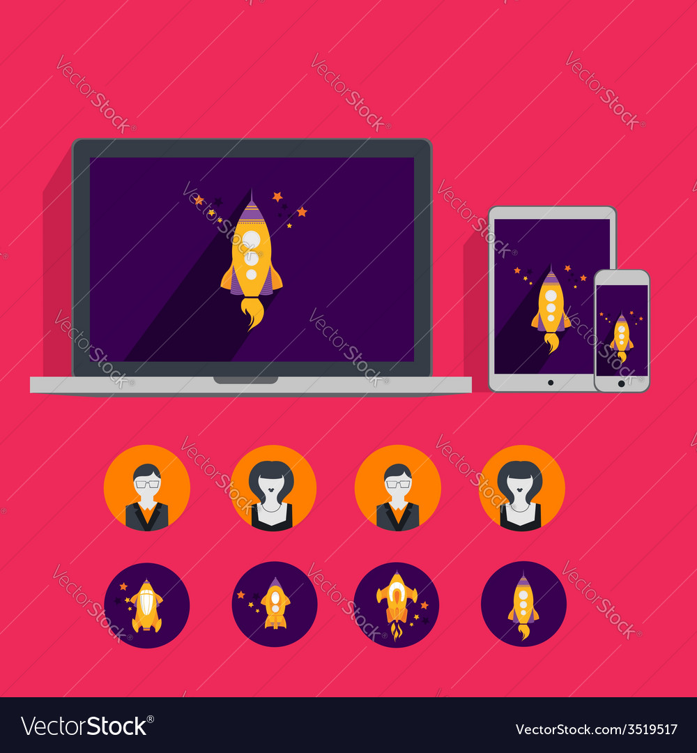 Flat collection laptop tablet phone vector | Price: 1 Credit (USD $1)