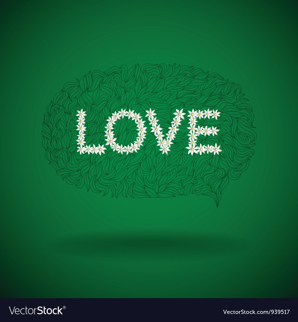 Floral love sign vector | Price: 1 Credit (USD $1)