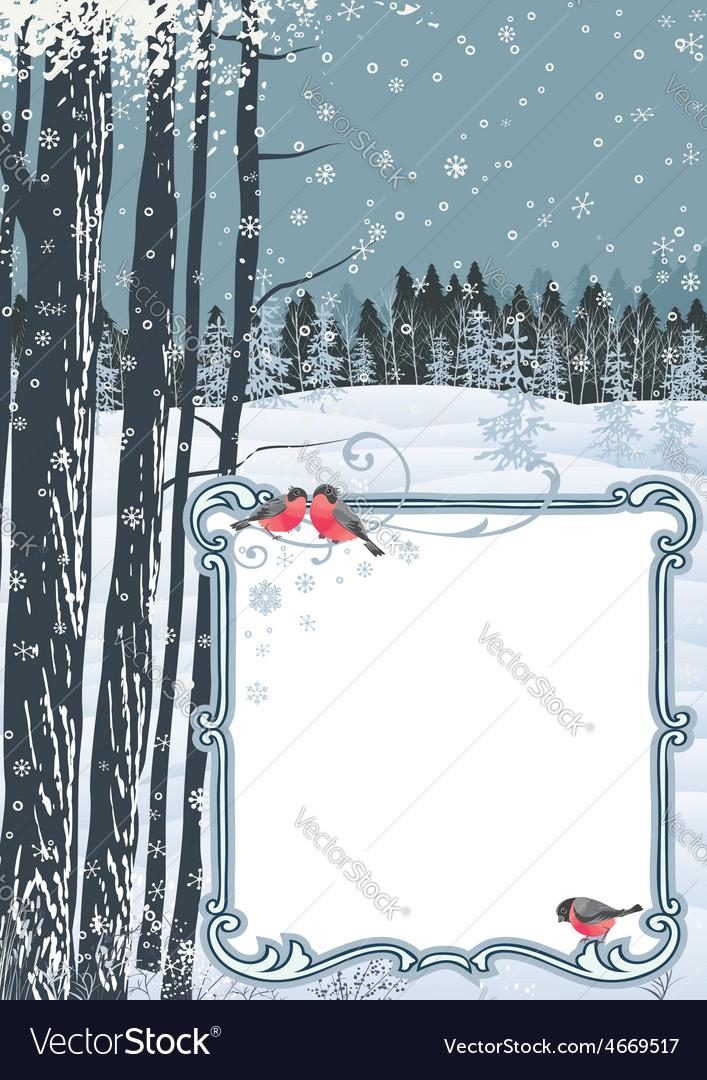 Frame on a winter landscape vector   Price: 1 Credit (USD $1)