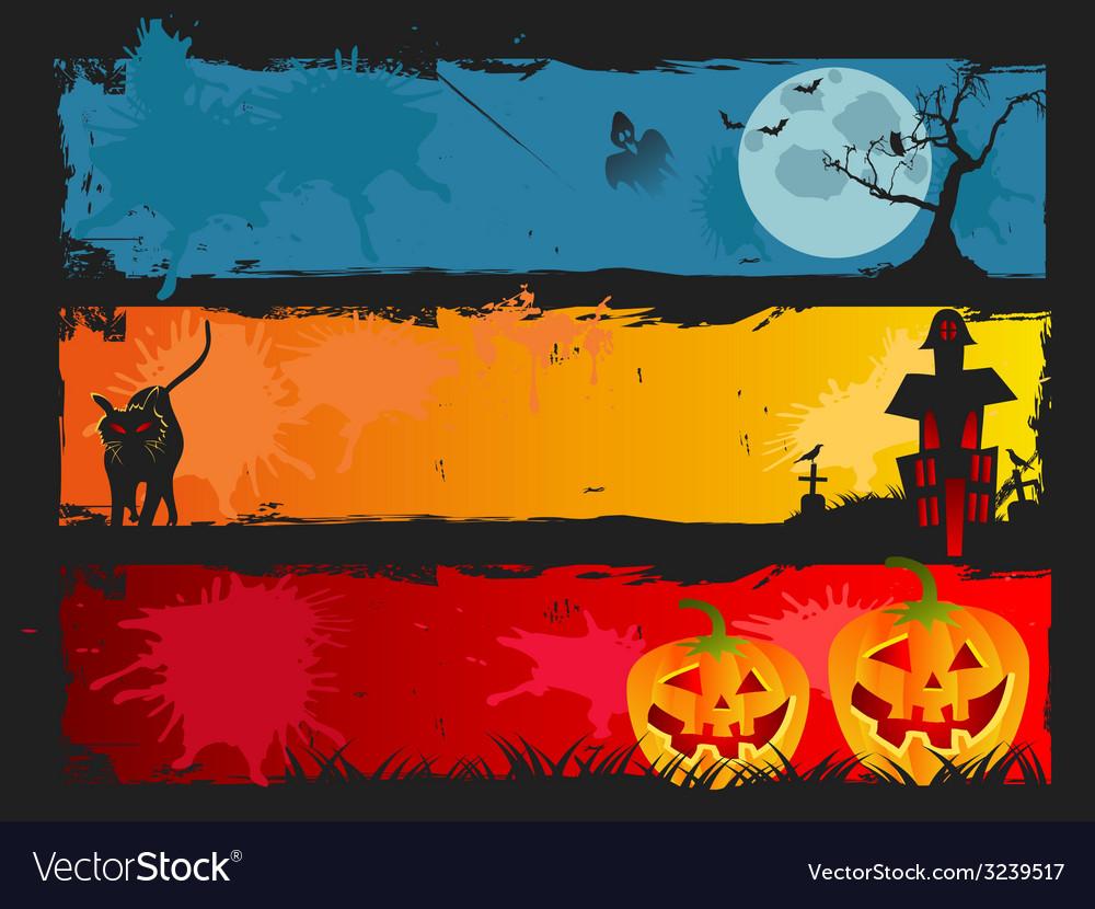 Halloween banner set vector | Price: 1 Credit (USD $1)