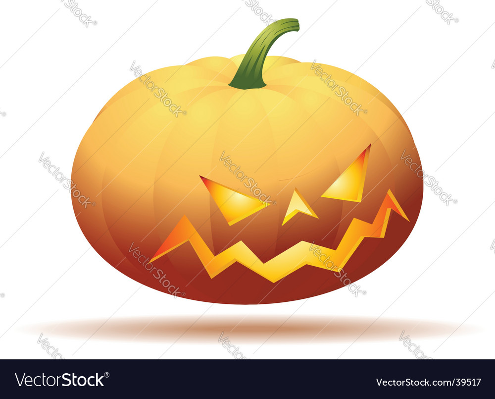 Halloween pumpkin isolated on white vector | Price: 1 Credit (USD $1)