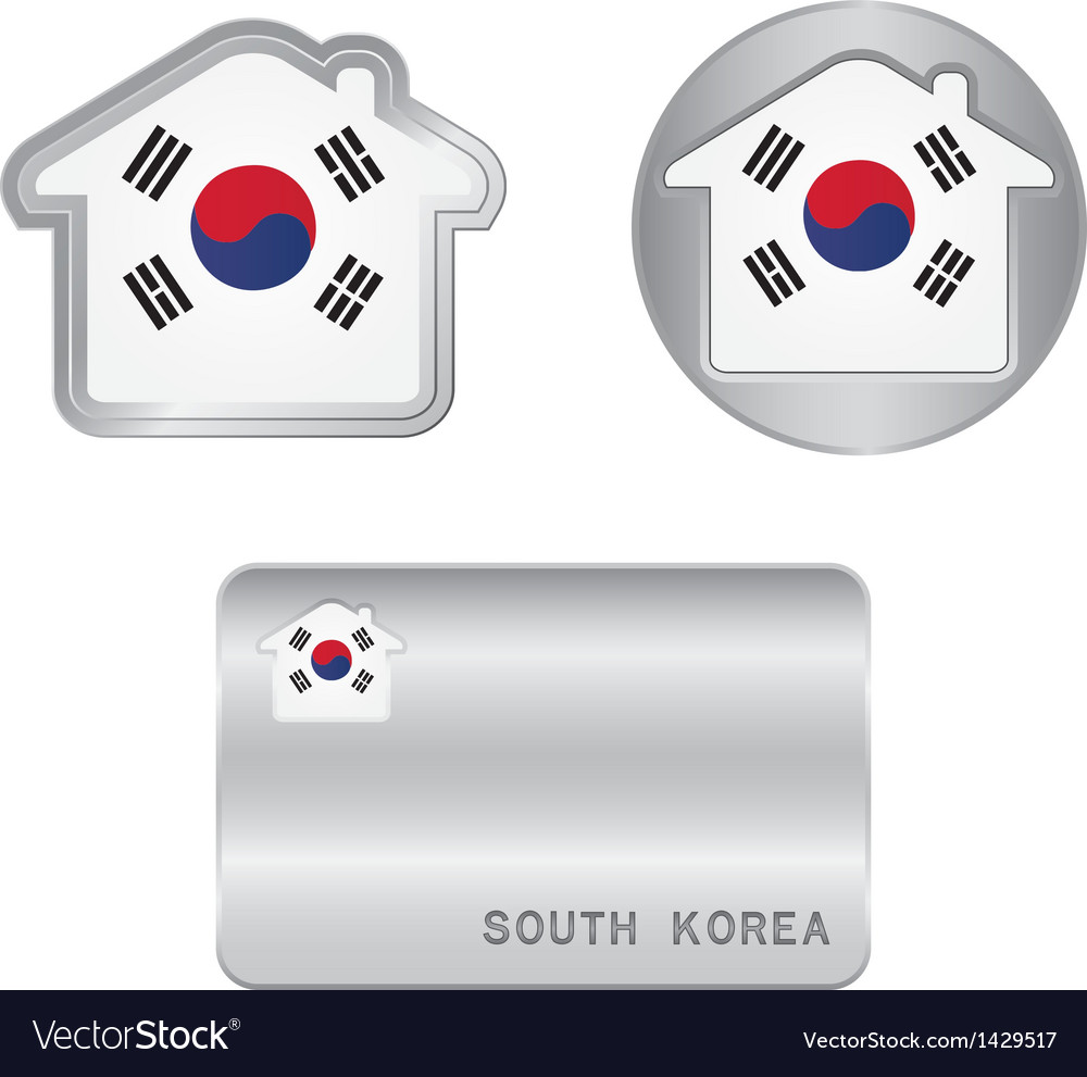 Home icon on the south korea flag vector | Price: 1 Credit (USD $1)