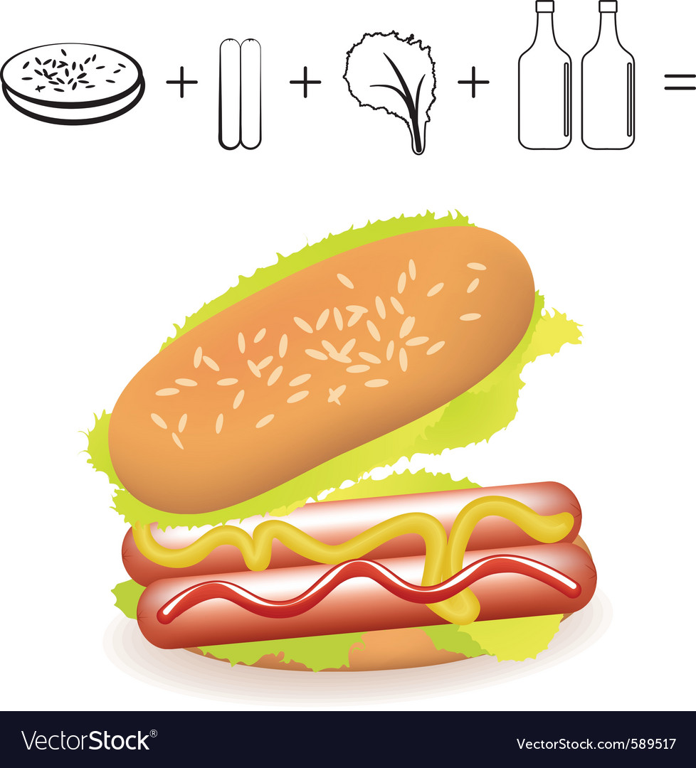 Simple hotdog recipe ingredients on white backgrou vector | Price: 1 Credit (USD $1)
