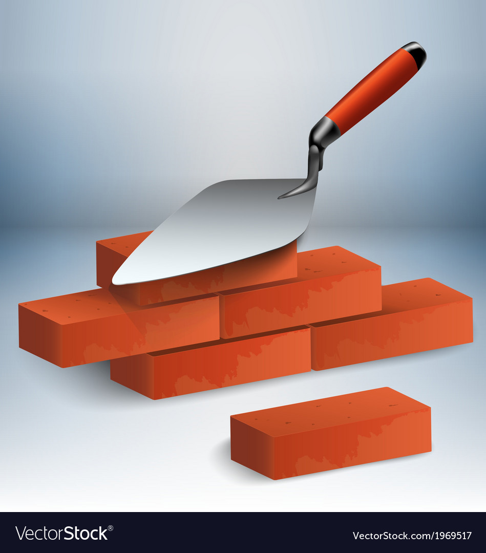 Trowel and bricks vector | Price: 1 Credit (USD $1)