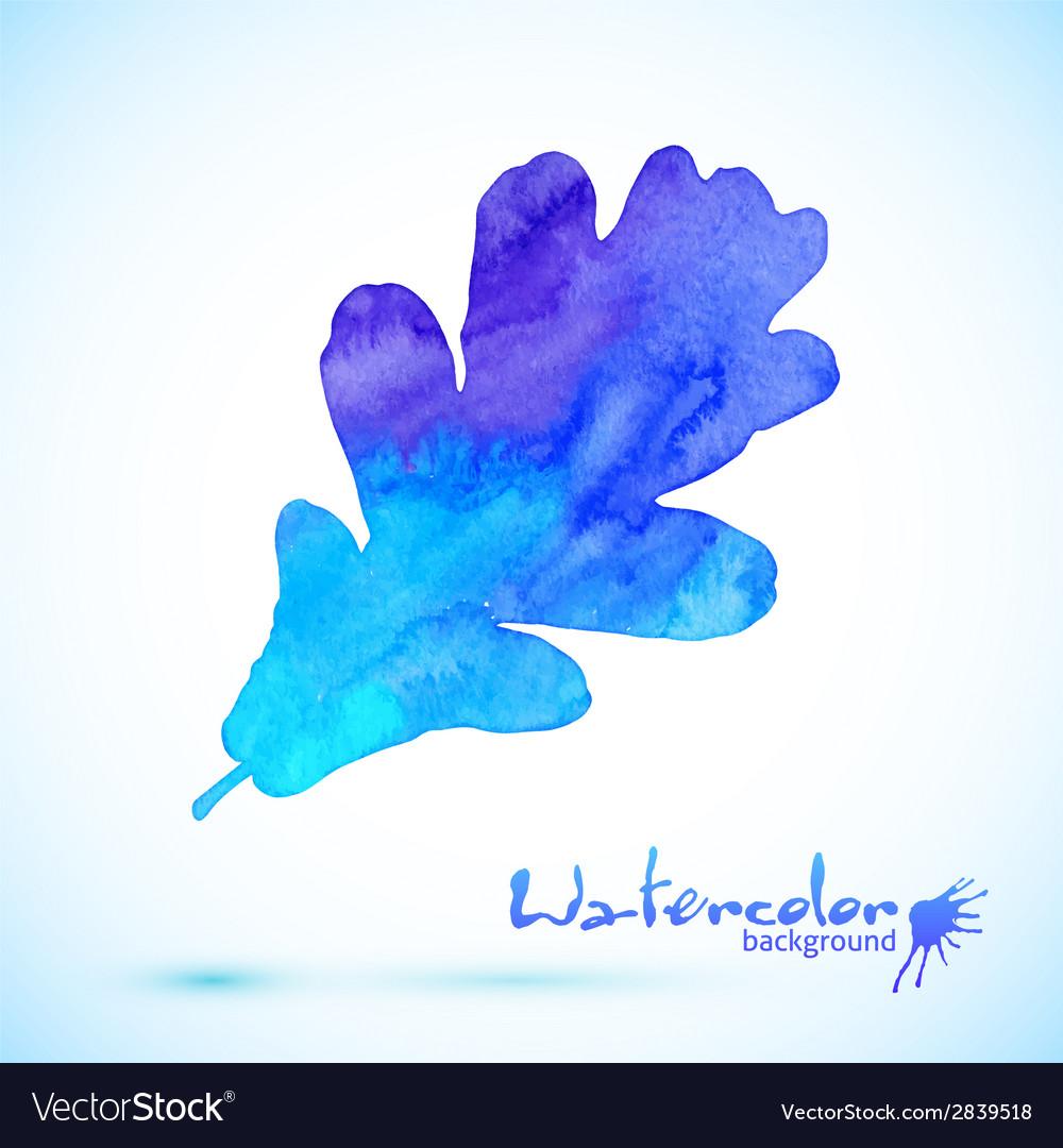 Blue watercolor painted oak leaf vector | Price: 1 Credit (USD $1)