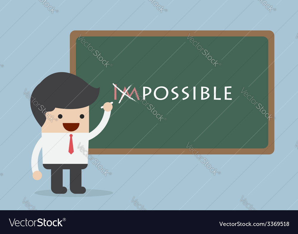 Businessman changing the word impossible into poss vector | Price: 1 Credit (USD $1)