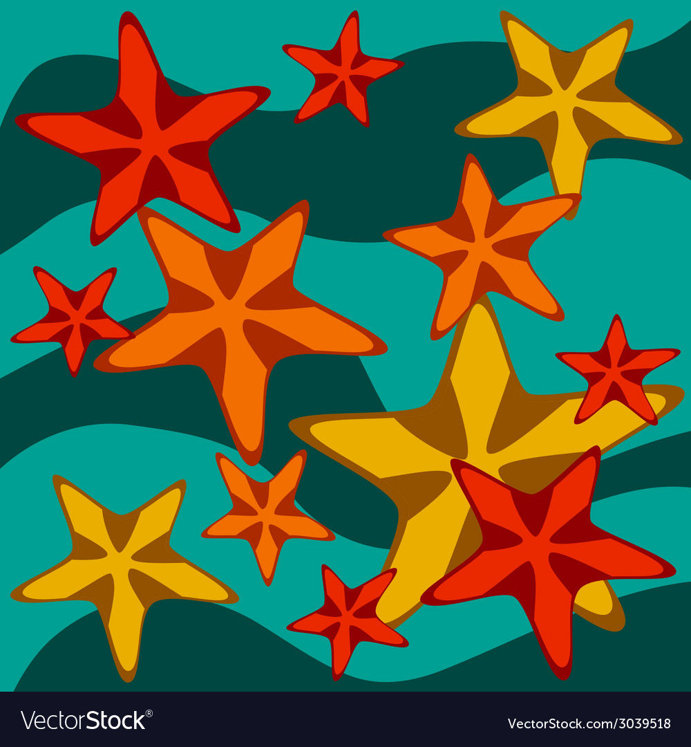 Card with starfishes on wavy background vector | Price: 1 Credit (USD $1)