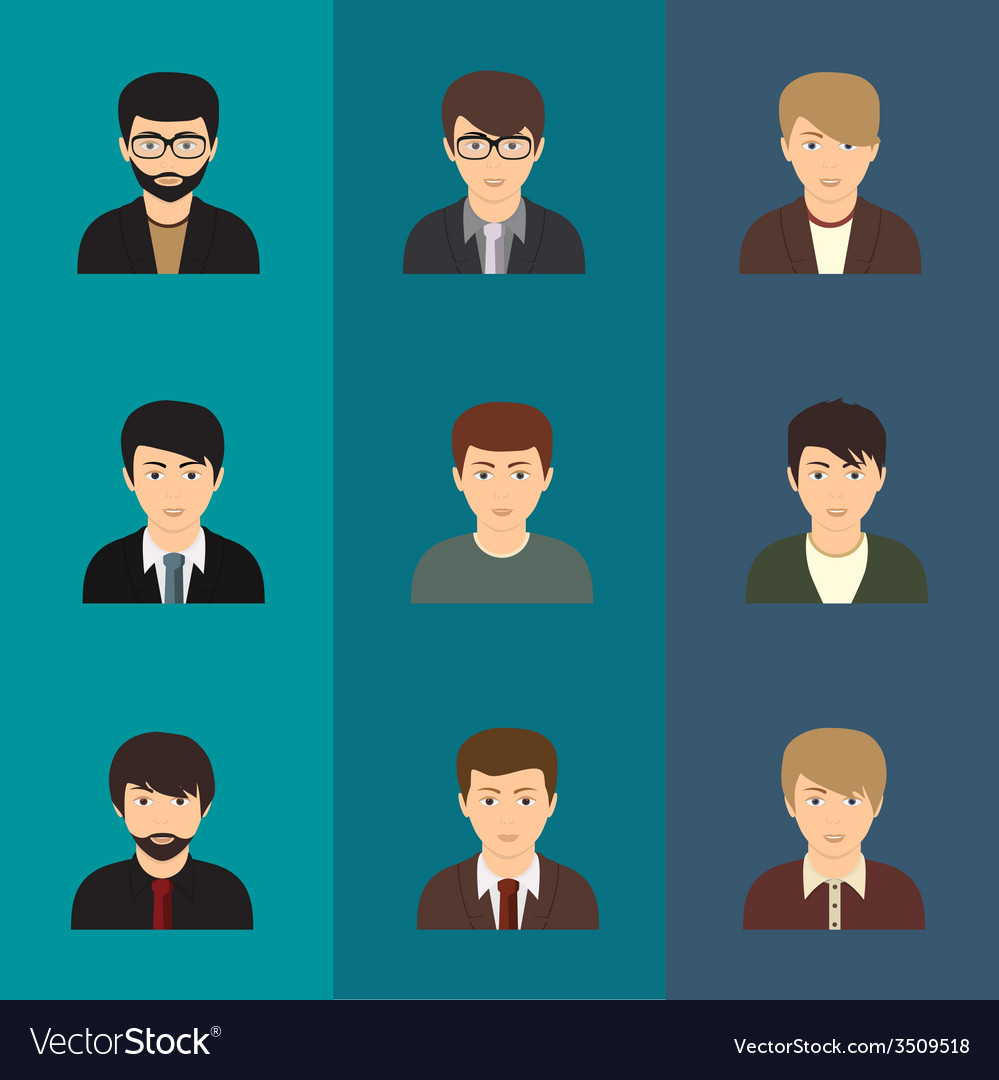 Cartoon of a handsome young man with various vector | Price: 1 Credit (USD $1)