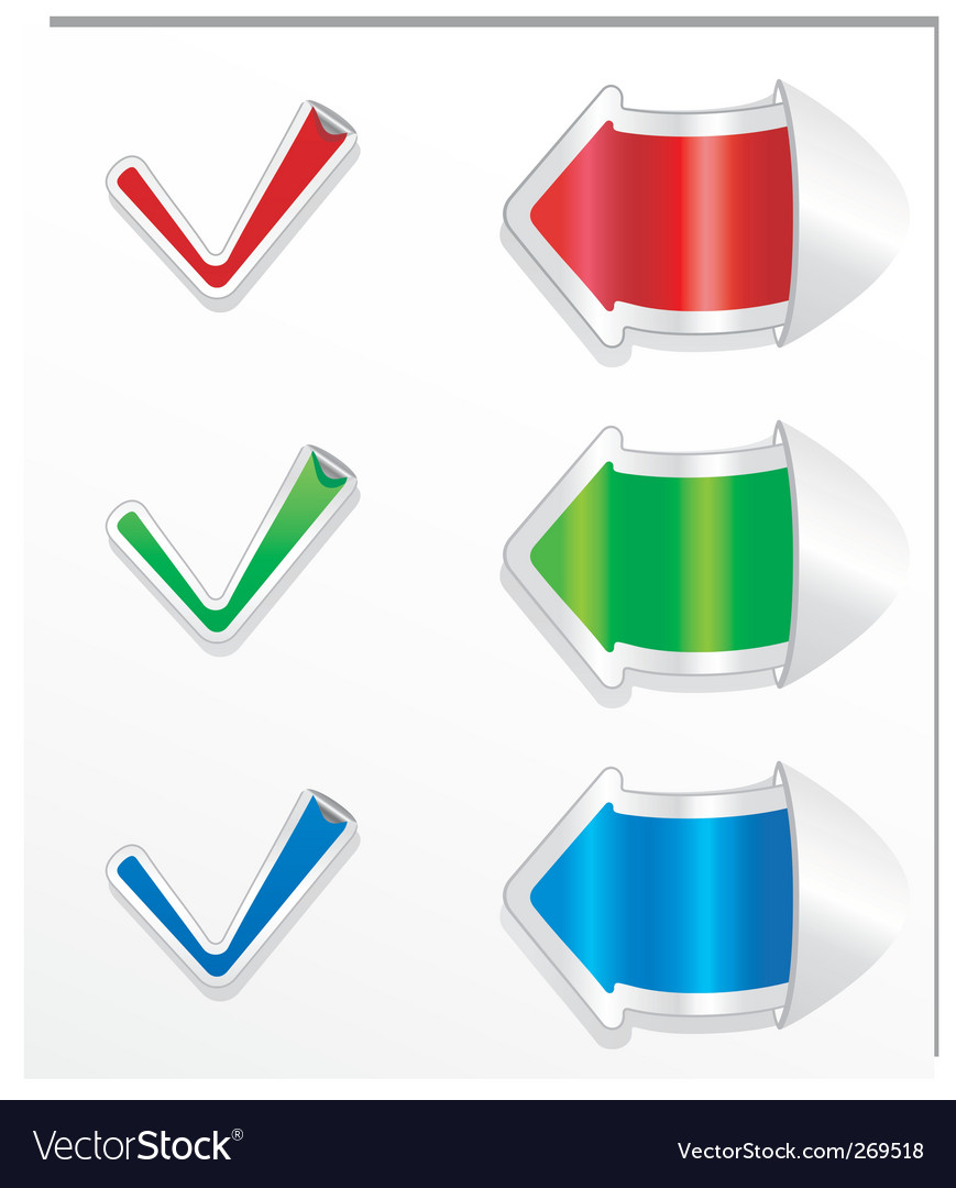 Checkmark stickers and arrows vector | Price: 1 Credit (USD $1)
