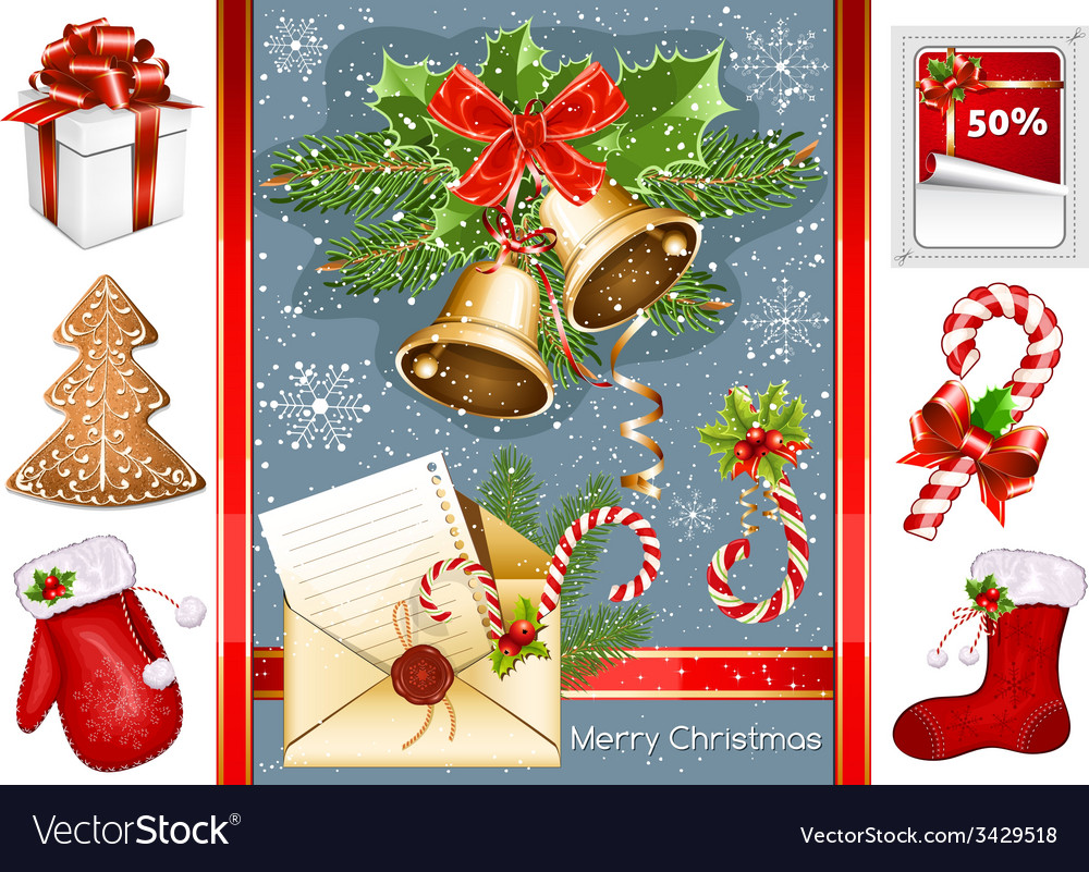 Collection of christmas traditional objects vector | Price: 1 Credit (USD $1)