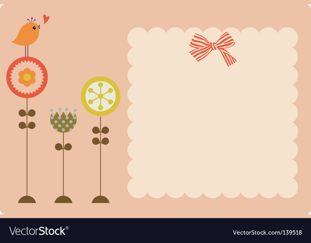 Flower and bird text vector | Price: 1 Credit (USD $1)