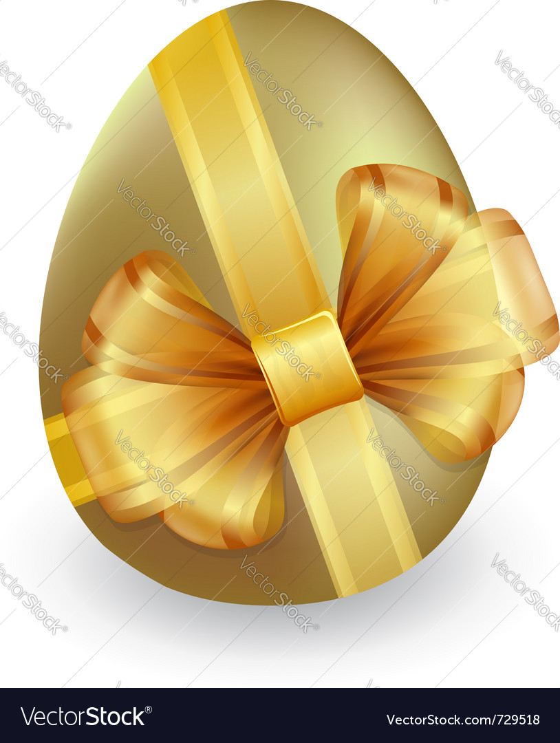 Gold easter egg tied with ribbon and bow vector | Price: 1 Credit (USD $1)