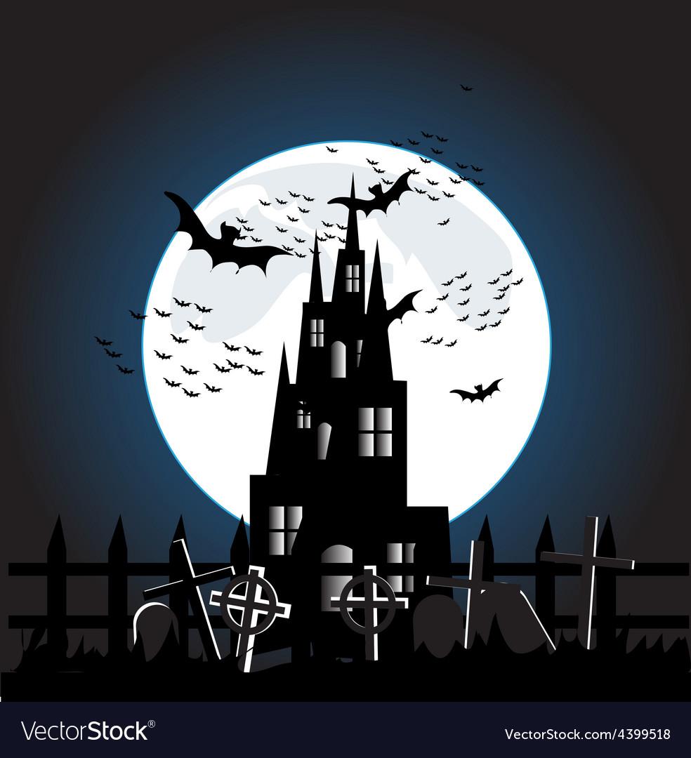 Halloween castle background vector | Price: 3 Credit (USD $3)