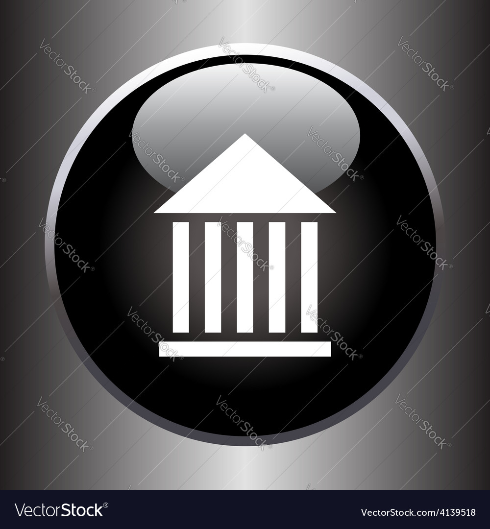 Museum flat simple icon on black button vector | Price: 1 Credit (USD $1)