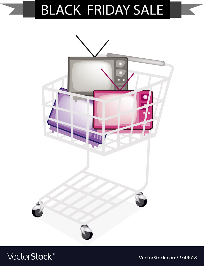 Retro television in black friday shopping cart vector | Price: 1 Credit (USD $1)