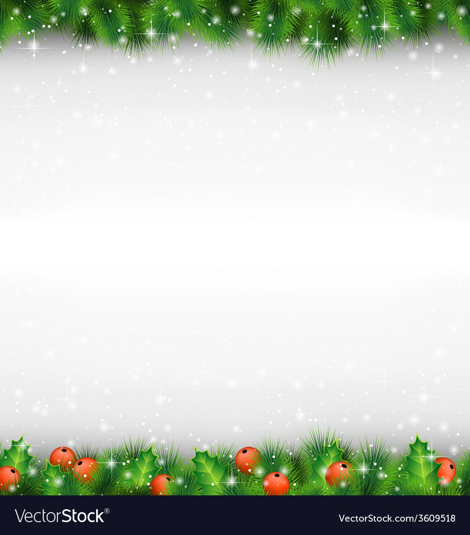 Shiny green pine branches like frame with holly vector | Price: 1 Credit (USD $1)