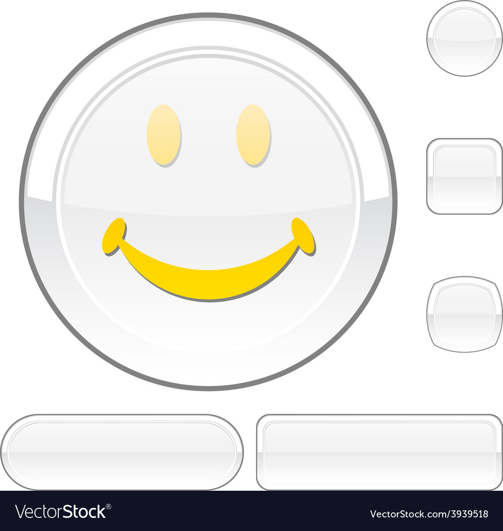 Smiley white button vector | Price: 1 Credit (USD $1)