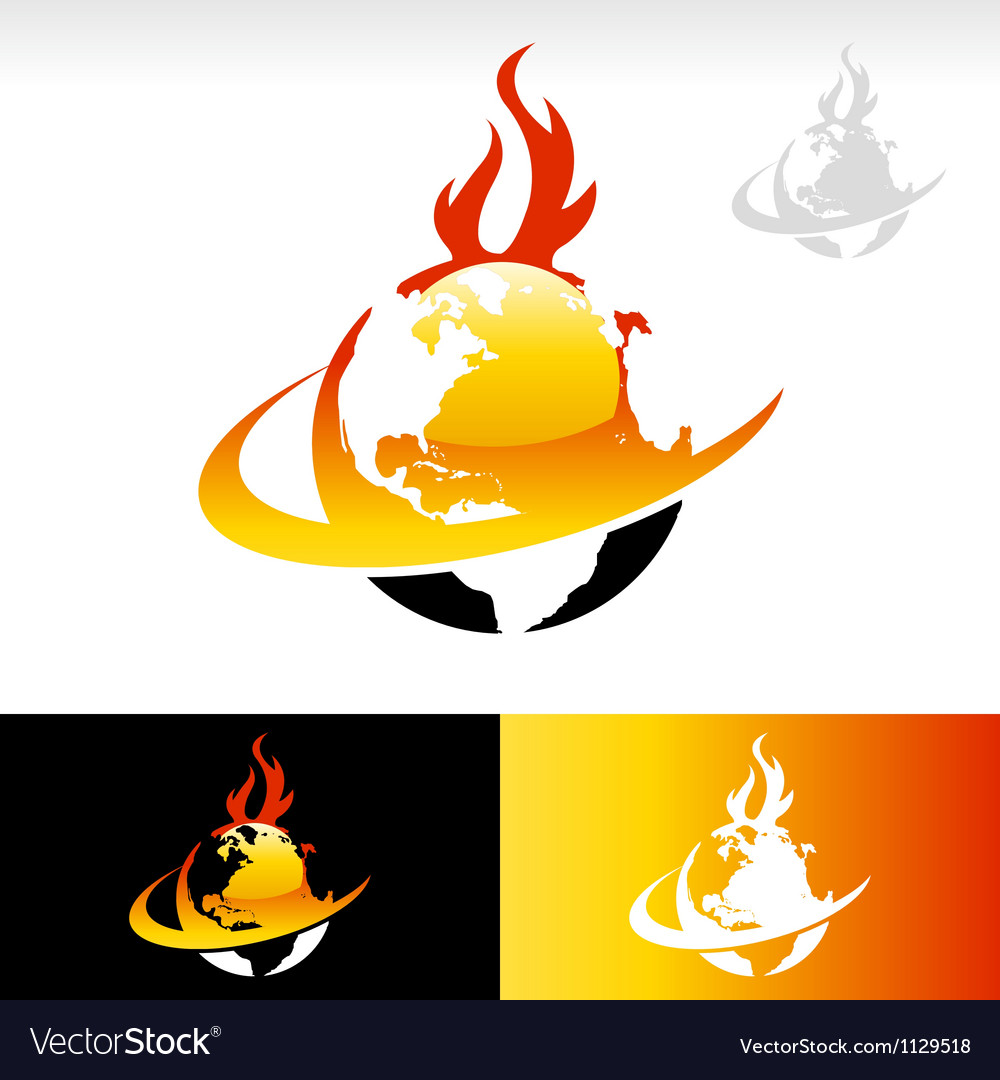 Swoosh fire earth logo icon vector | Price: 1 Credit (USD $1)